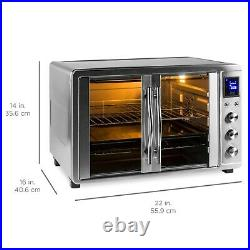 1800W Countertop Turbo Convection Toaster Oven French Doors, Digital Display 55L