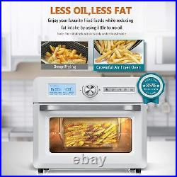 CROWNFUL 19 Quart Air Fryer Toaster Oven, 10-in-1 Countertop Oven White