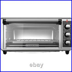 Extra Wide Convection Countertop Toaster Oven 8-Slice Bake Pan Stainless Steel