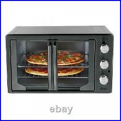 Metallic Charcoal Analog French Door Convection Countertop Oven Toaster 2 Racks