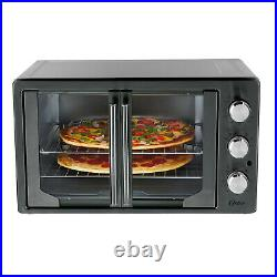New Oster Digital Metallic/charcoal French Door Convection Oven 2 Racks Pan Tray