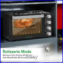 NutriChef Kitchen Convection Electric Countertop Rotisserie Toaster Oven Cooker