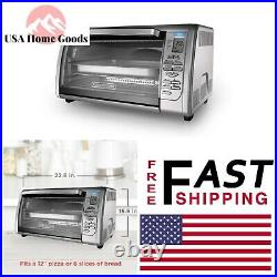 Stainless Steel Digital Convection Toaster Oven 6-Slice Home Dining Counter Top